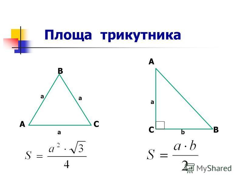 Площа трикутника В С А В АС а а а a b