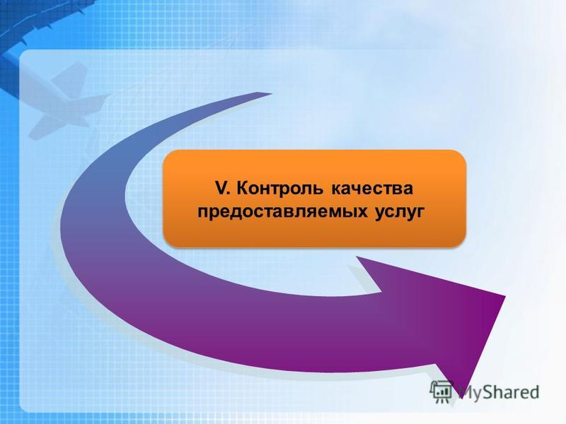 V. Контроль качества предоставляемых услуг