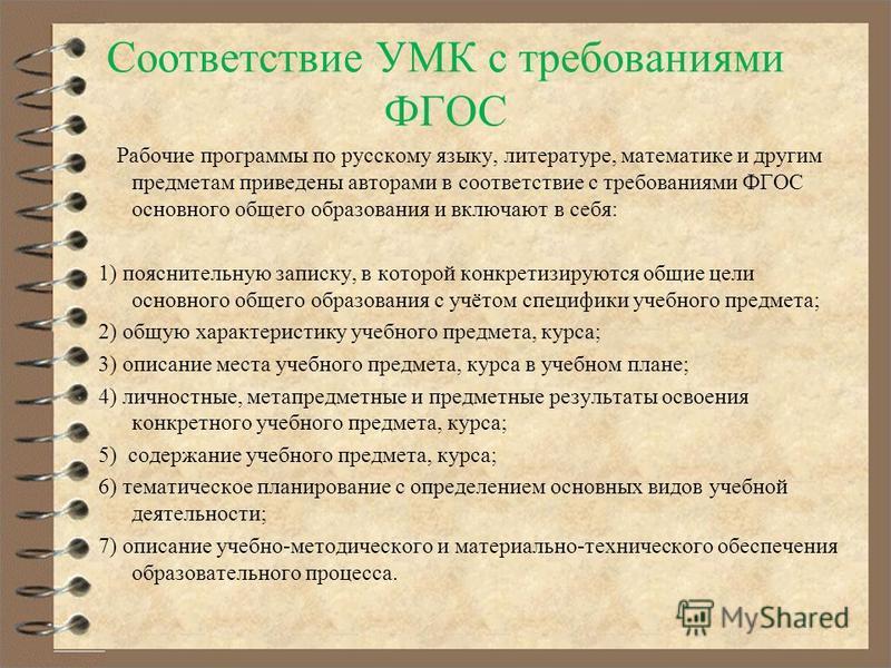 Соответствие УМК с требованиями ФГОС Рабочие программы по русскому языку, литературе, математике и другим предметам приведены авторами в соответствие с требованиями ФГОС основного общего образования и включают в себя: 1) пояснительную записку, в кото