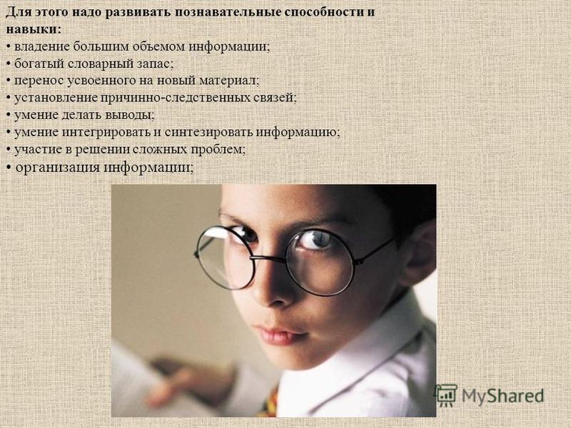 Для этого надо развивать познавательные способности и навыки: владение большим объемом информации; богатый словарный запас; перенос усвоенного на новый материал; установление причинно-следственных связей; умение делать выводы; умение интегрировать и