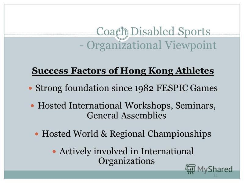 Coach Disabled Sports - Organizational Viewpoint 10 Integrative Coaching Programme Full time sports specific Coaches Share Use for Disabled and Able-bodied Atheletes
