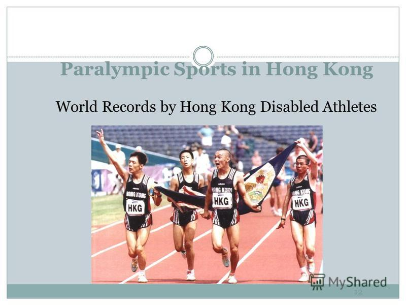 Coach Disabled Sports - Organizational Viewpoint 11 Success Factors of Hong Kong Athletes Strong foundation since 1982 FESPIC Games Hosted International Workshops, Seminars, General Assemblies Hosted World & Regional Championships Actively involved i