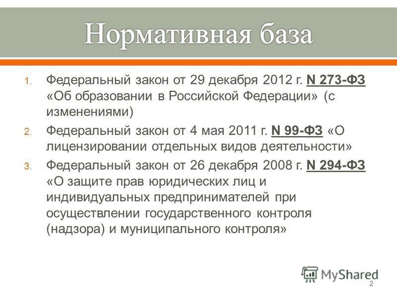 1. Федеральный закон от 29 декабря 2012 г. N 273- ФЗ « Об образовании в Российской Федерации » ( с изменениями ) 2. Федеральный закон от 4 мая 2011 г. N 99- ФЗ « О лицензировании отдельных видов деятельности » 3. Федеральный закон от 26 декабря 2008