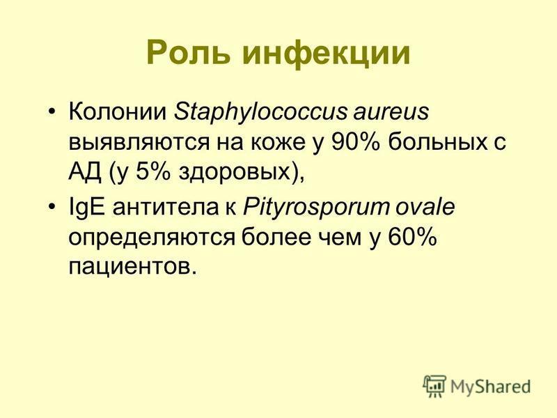 Роль инфекции Колонии Staphylococcus aureus выявляются на коже у 90% больных с АД (у 5% здоровых), IgE антитела к Pityrosporum ovale определяются более чем у 60% пациентов.
