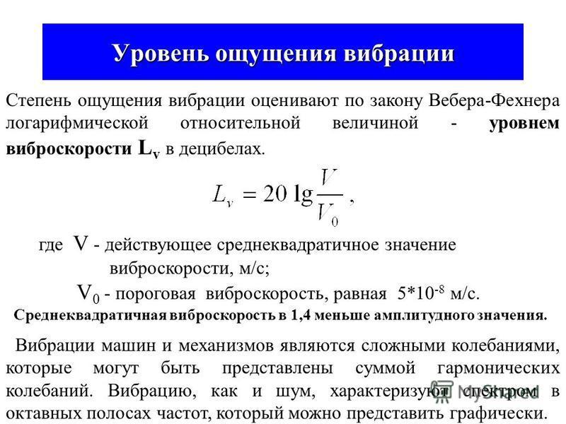 Вибрация Физические характеристики вибрации Вибрация - это механические колебания в твёрдых телах. Простейший вид колебаний - гармонические. T=1/f ζaζa Вибрацию оценивают частотой f (Гц) или периодом колебаний T и одним из трёх параметров: Амплитудой