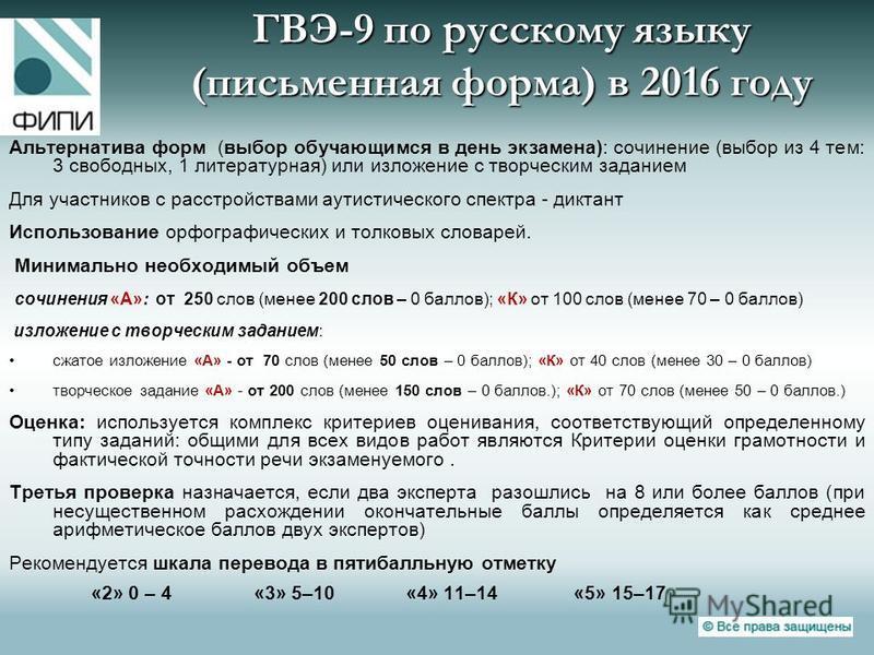 ГВЭ-9 по русскому языку (письменная форма) в 2016 году Альтернатива форм (выбор обучающимся в день экзамена): сочинение (выбор из 4 тем: 3 свободных, 1 литературная) или изложение с творческим заданием Для участников с расстройствами аутистического с