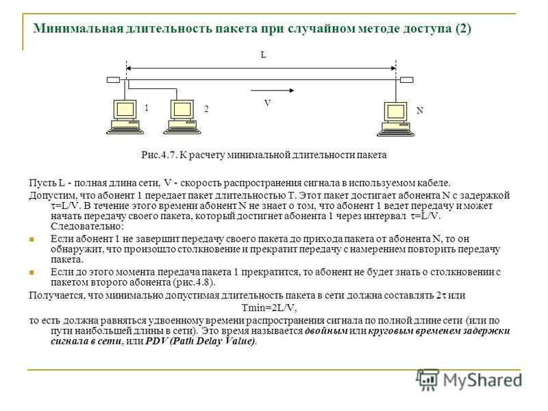 Минимальная длительность пакета при случайном методе доступа (2) Пусть L - полная длина сети, V - скорость распространения сигнала в используемом кабеле. Допустим, что абонент 1 передает пакет длительностью T. Этот пакет достигает абонента N с задерж