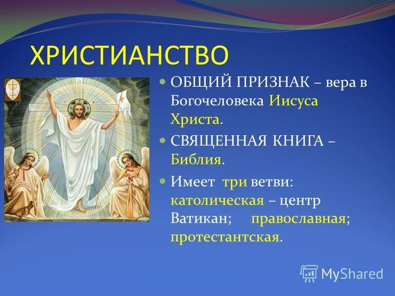 ХРИСТИАНСТВО ОБЩИЙ ПРИЗНАК – вера в Богочеловека Иисуса Христа. СВЯЩЕННАЯ КНИГА – Библия. Имеет три ветви: католическая – центр Ватикан; православная; протестантская.