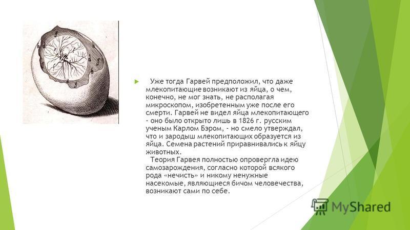 Уже тогда Гарвей предположил, что даже млекопитающие возникают из яйца, о чем, конечно, не мог знать, не располагая микроскопом, изобретенным уже после его смерти. Гарвей не видел яйца млекопитающего - оно было открыто лишь в 1826 г. русским ученым К