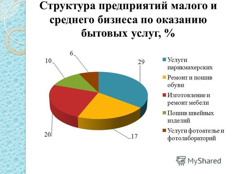 Структура предприятий малого и среднего бизнеса по оказанию бытовых услуг, %