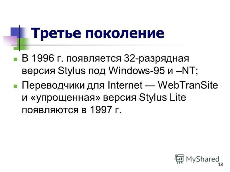 13 Третье поколение В 1996 г. появляется 32-разрядная версия Stylus под Windows-95 и –NT; Переводчики для Internet WebTranSite и «упрощенная» версия Stylus Lite появляются в 1997 г.