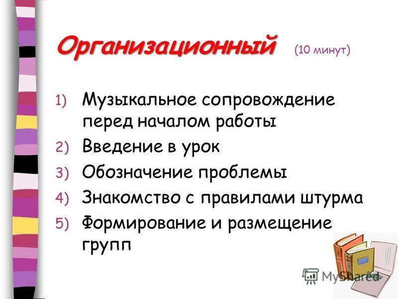 Организационный Организационный (10 минут) 1) Музыкальное сопровождение перед началом работы 2) Введение в урок 3) Обозначение проблемы 4) Знакомство с правилами штурма 5) Формирование и размещение групп