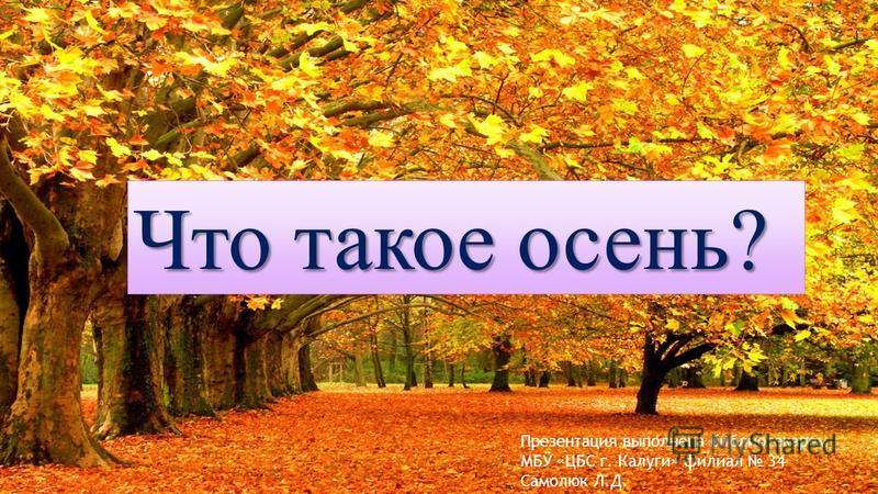 Что такое осень? Презентация выполнена библиотекарем МБУ «ЦБС г. Калуги» филиал 34 Самолюк Л.Д.