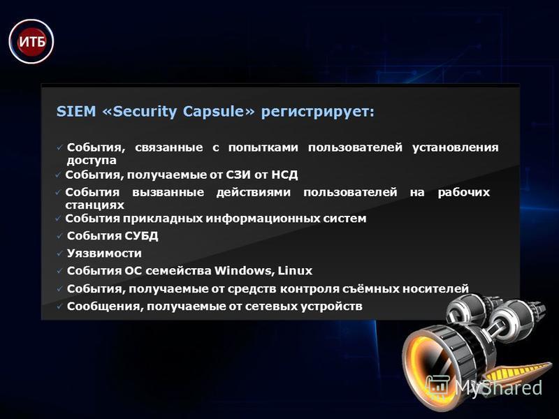 SIEM «Security Capsule» регистрирует: События, связанные с попытками пользователей установления доступа Сообщения, получаемые от сетевых устройств События, получаемые от СЗИ от НСД События, получаемые от средств контроля съёмных носителей События ОС