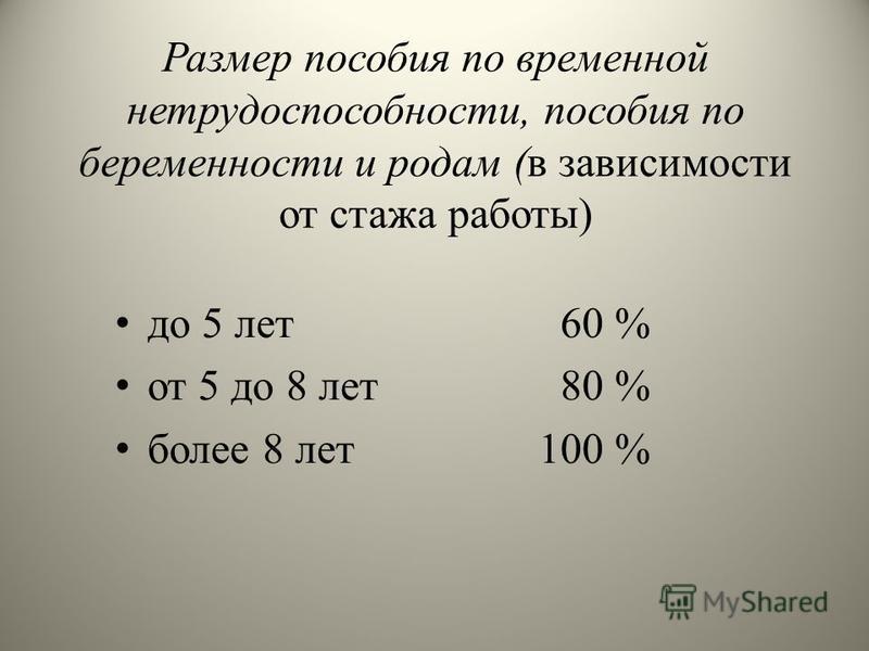 Размер пособия по временной нетрудоспособности, пособия по беременности и родам (в зависимости от стажа работы) до 5 лет 60 % от 5 до 8 лет 80 % более 8 лет 100 %