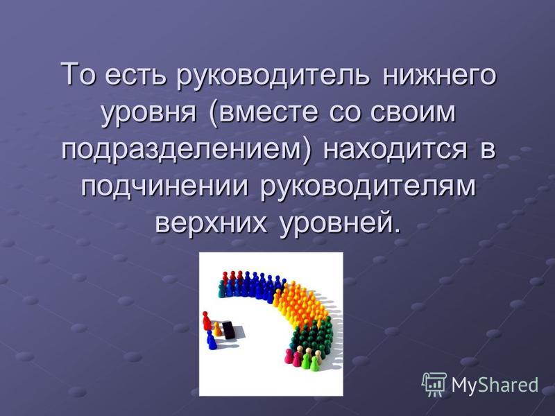 То есть руководитель нижнего уровня (вместе со своим подразделением) находится в подчинении руководителям верхних уровней.