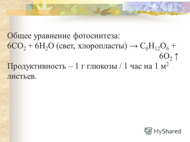 Общее уравнение фотосинтеза: 6СО 2 + 6Н 2 О (свет, хлоропласты) С 6 Н 12 О 6 + 6О 2 Продуктивность – 1 г глюкозы / 1 час на 1 м 2 листьев.