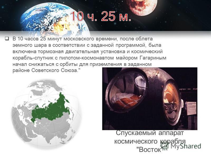В 10 часов 25 минут московского времени, после облета земного шара в соответствии с заданной программой, была включена тормозная двигательная установка и космический корабль-спутник с пилотом-космонавтом майором Гагариным начал снижаться с орбиты для