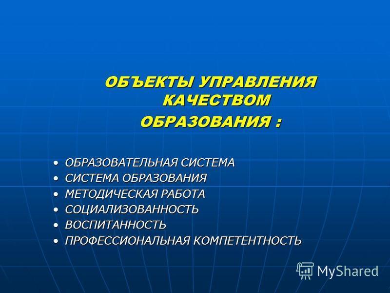 ОБЪЕКТЫ УПРАВЛЕНИЯ КАЧЕСТВОМ ОБРАЗОВАНИЯ : ОБРАЗОВАТЕЛЬНАЯ СИСТЕМАОБРАЗОВАТЕЛЬНАЯ СИСТЕМА СИСТЕМА ОБРАЗОВАНИЯСИСТЕМА ОБРАЗОВАНИЯ МЕТОДИЧЕСКАЯ РАБОТАМЕТОДИЧЕСКАЯ РАБОТА СОЦИАЛИЗОВАННОСТЬСОЦИАЛИЗОВАННОСТЬ ВОСПИТАННОСТЬВОСПИТАННОСТЬ ПРОФЕССИОНАЛЬНАЯ КОМ