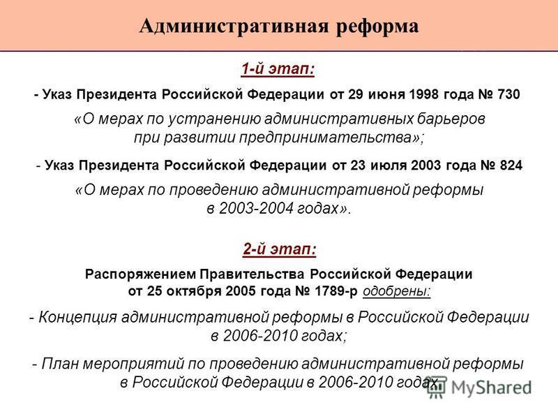 1-й этап: - Указ Президента Российской Федерации от 29 июня 1998 года 730 «О мерах по устранению административных барьеров при развитии предпринимательства»; - Указ Президента Российской Федерации от 23 июля 2003 года 824 «О мерах по проведению админ