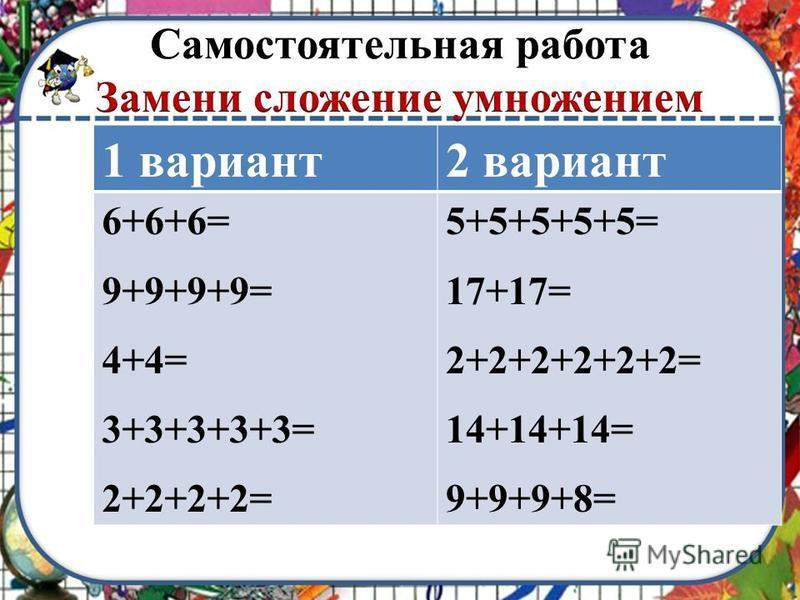1 вариант 2 вариант 6+6+6= 9+9+9+9= 4+4= 3+3+3+3+3= 2+2+2+2= 5+5+5+5+5= 17+17= 2+2+2+2+2+2= 14+14+14= 9+9+9+8=