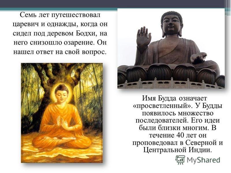 Имя Будда означает «просветленный». У Будды появилось множество последователей. Его идеи были близки многим. В течение 40 лет он проповедовал в Северной и Центральной Индии. Семь лет путешествовал царевич и однажды, когда он сидел под деревом Бодхи,