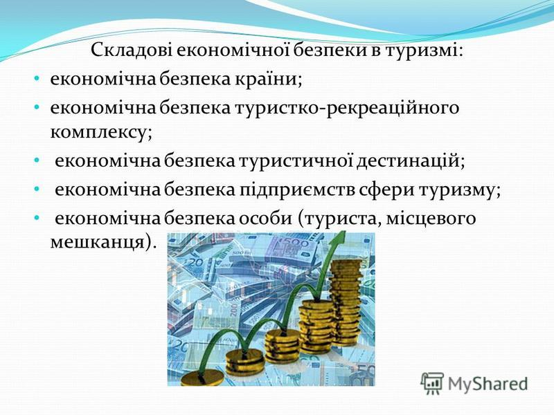 Складові економічної безпеки в туризмі: економічна безпека країни; економічна безпека туристко-рекреаційного комплексу; економічна безпека туристичної дестинацій; економічна безпека підприємств сфери туризму; економічна безпека особи (туриста, місцев