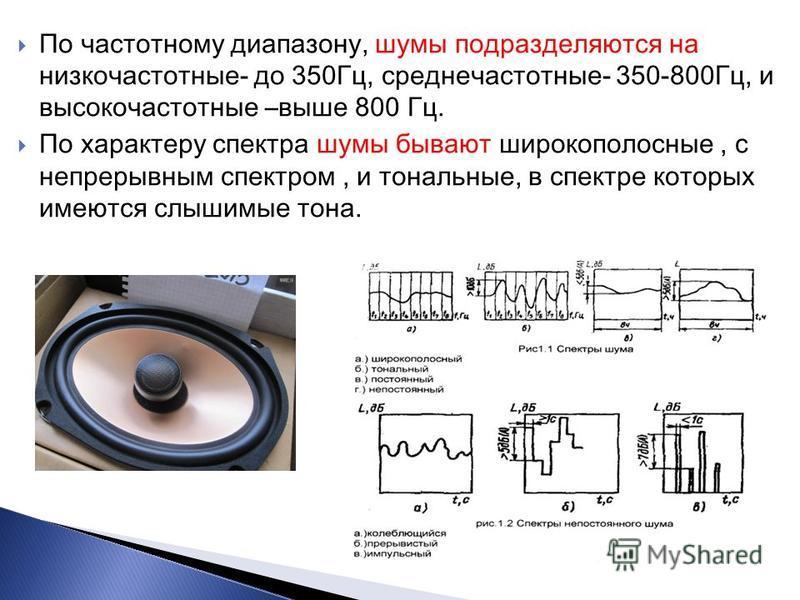 По частотному диапазону, шумы подразделяются на низкочастотные- до 350Гц, среднечастотные- 350-800Гц, и высокочастотные –выше 800 Гц. По характеру спектра шумы бывают широкополосные, с непрерывным спектром, и тональные, в спектре которых имеются слыш