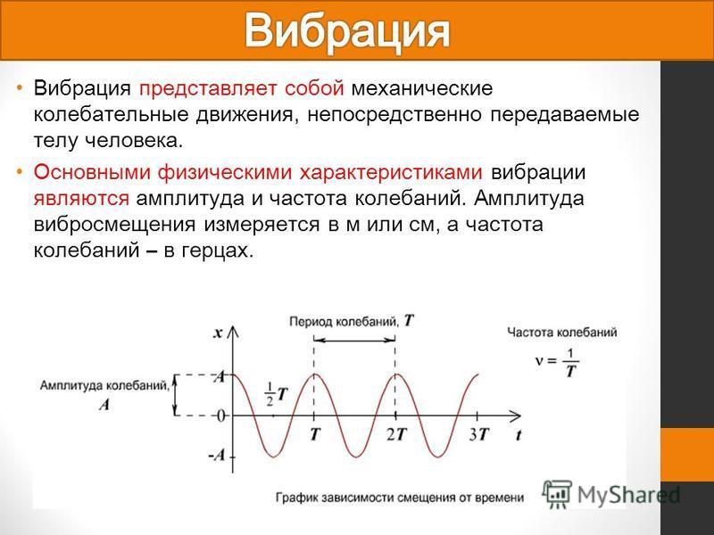 Вибрация представляет собой механические колебательные движения, непосредственно передаваемые телу человека. Основными физическими характеристиками вибрации являются амплитуда и частота колебаний. Амплитуда вибросмещения измеряется в м или см, а част