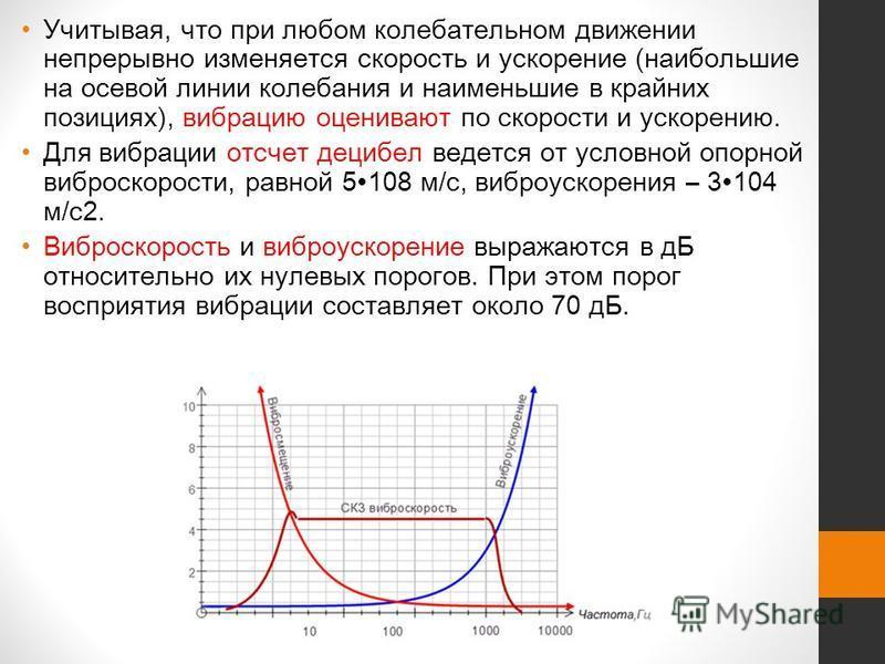 Учитывая, что при любом колебательном движении непрерывно изменяется скорость и ускорение (наибольшие на осевой линии колебания и наименьшие в крайних позициях), вибрацию оценивают по скорости и ускорению. Для вибрации отсчет децибел ведется от услов