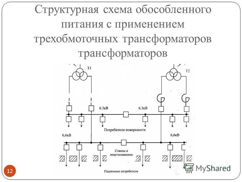 Структурная схема обособленного питания с применением трехобмоточных трансформаторов трансформаторов 12