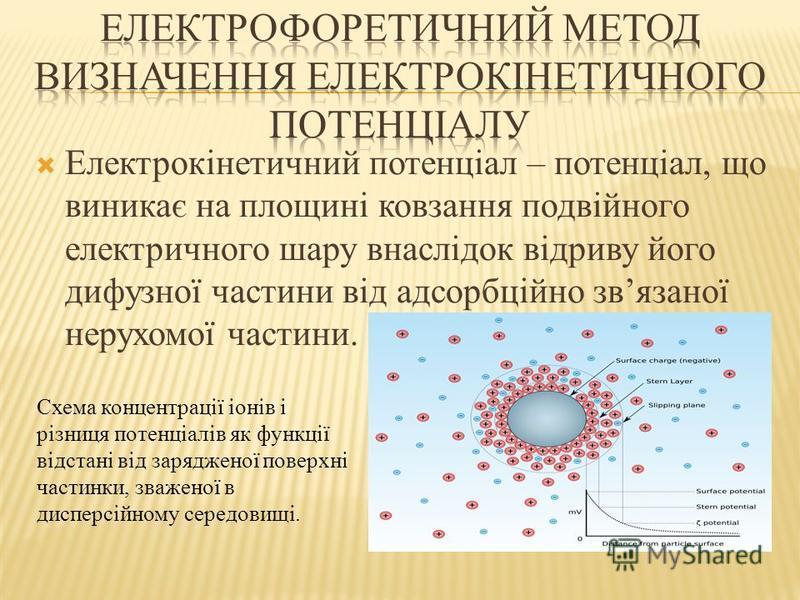 Електрокінетичний потенціал – потенціал, що виникає на площині ковзання подвійного електричного шару внаслідок відриву його дифузної частини від адсорбційно звязаної нерухомої частини. Схема концентрації іонів і різниця потенціалів як функції відстан