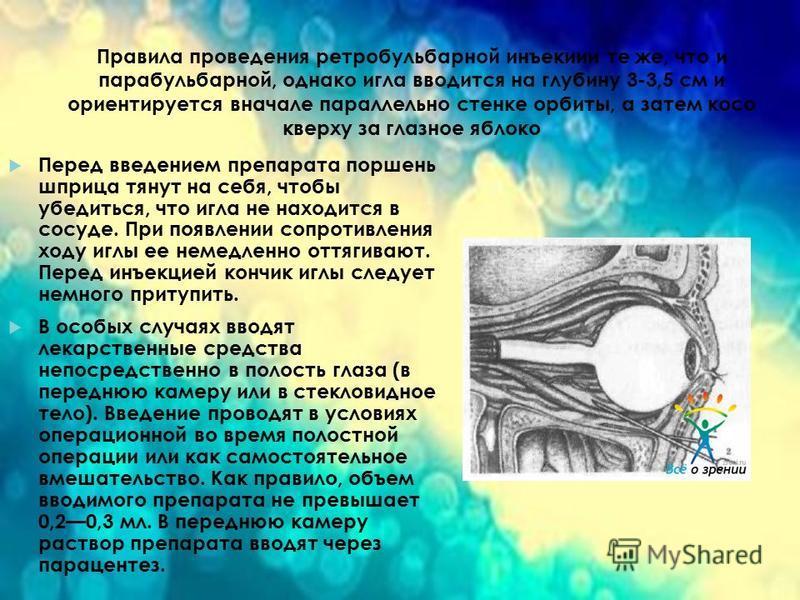 Правила проведения ретробульбарной инъекции те же, что и парабульбарной, однако игла вводится на глубину 3-3,5 см и ориентируется вначале параллельно стенке орбиты, а затем косо кверху за глазное яблоко Перед введением препарата поршень шприца тянут