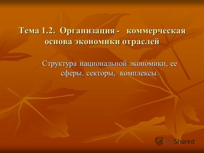 Тема 1.2. Организация - коммерческая основа экономики отраслей Структура национальной экономики, ее сферы, секторы, комплексы.