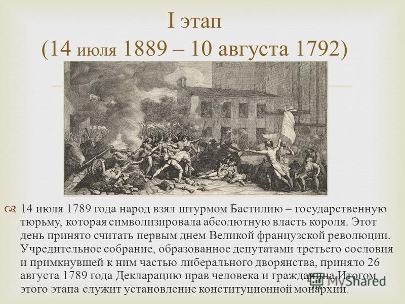 14 июля 1789 года народ взял штурмом Бастилию – государственную тюрьму, которая символизировала абсолютную власть короля. Этот день принято считать первым днем Великой французской революции. Учредительное собрание, образованное депутатами третьего со