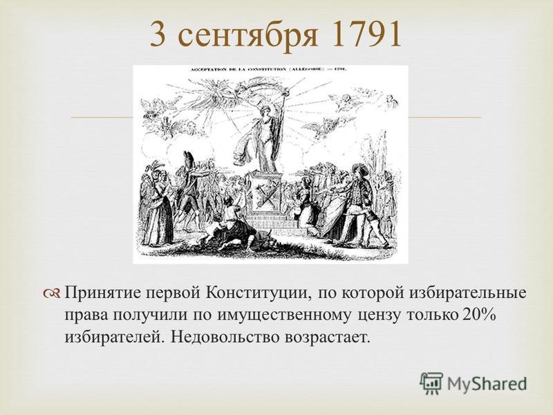 Принятие первой Конституции, по которой избирательные права получили по имущественному цензу только 20% избирателей. Недовольство возрастает. 3 сентября 1791