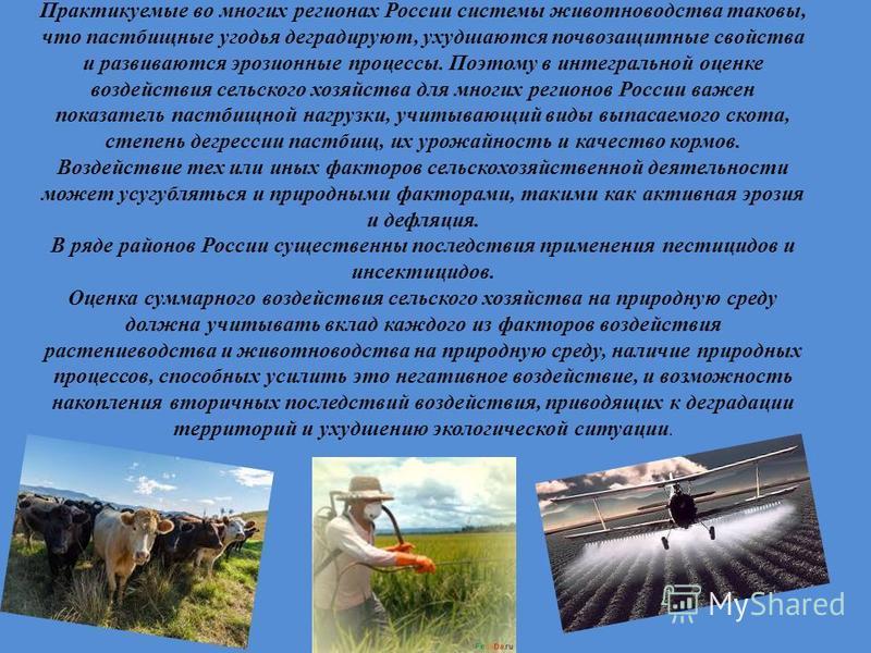 Практикуемые во многих регионах России системы животноводства таковы, что пастбищные угодья деградируют, ухудшаются почвозащитные свойства и развиваются эрозионные процессы. Поэтому в интегральной оценке воздействия сельского хозяйства для многих рег