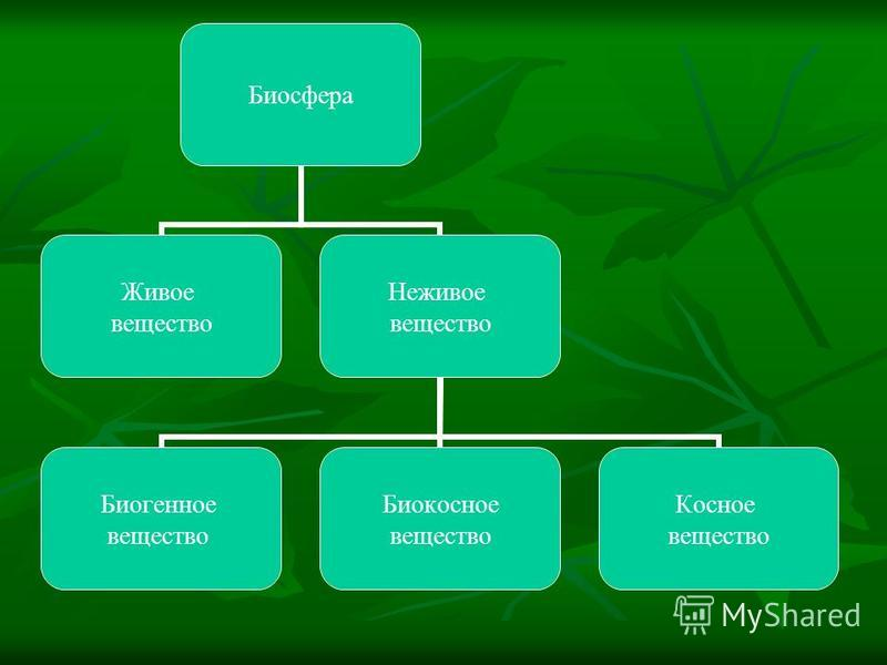 Биосфера Живое вещество Неживое вещество Биогенное вещество Биокосное вещество Косное вещество