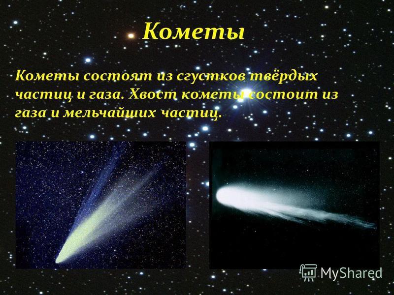 Кометы Кометы состоят из сгустков твёрдых частиц и газа. Хвост кометы состоит из газа и мельчайших частиц.