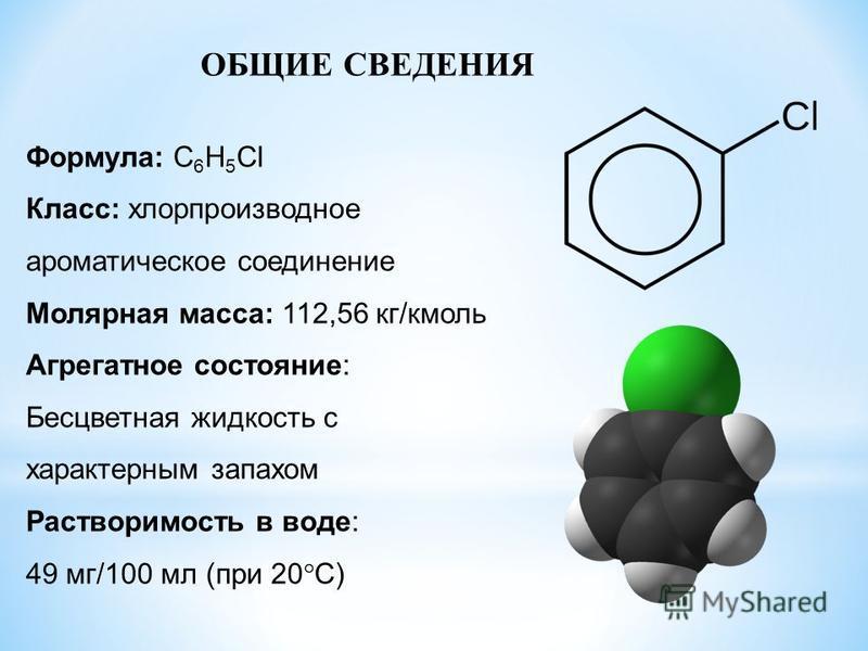 ОБЩИЕ СВЕДЕНИЯ Формула: C 6 H 5 Cl Класс: хлорпроизводное ароматическое соединение Молярная масса: 112,56 кг/кмоль Агрегатное состояние: Бесцветная жидкость с характерным запахом Растворимость в воде: 49 мг/100 мл (при 20°C)
