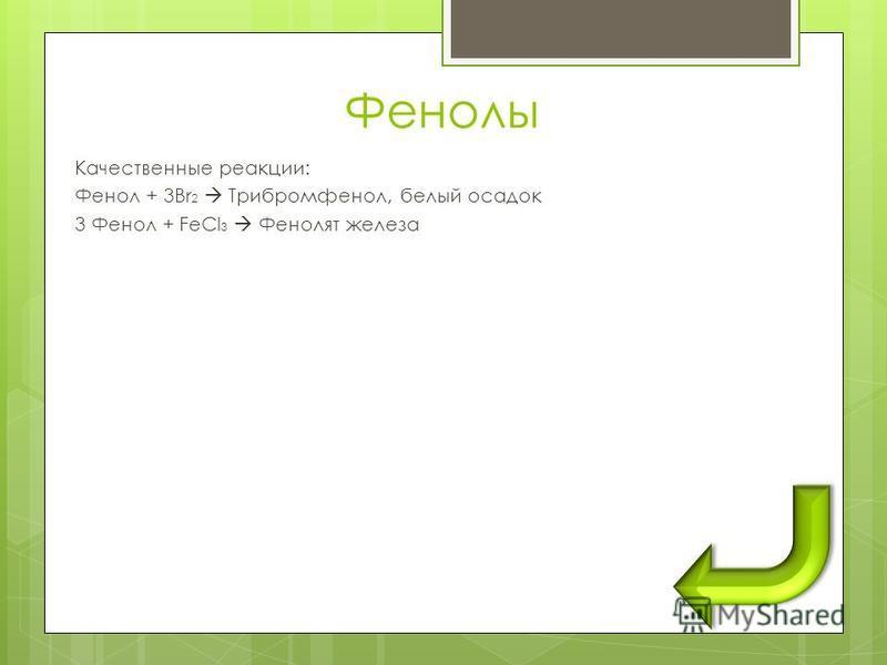 Фенолы Качественные реакции: Фенол + 3Br 2 Трибромфенол, белый осадок 3 Фенол + FeCl 3 Фенолят железа