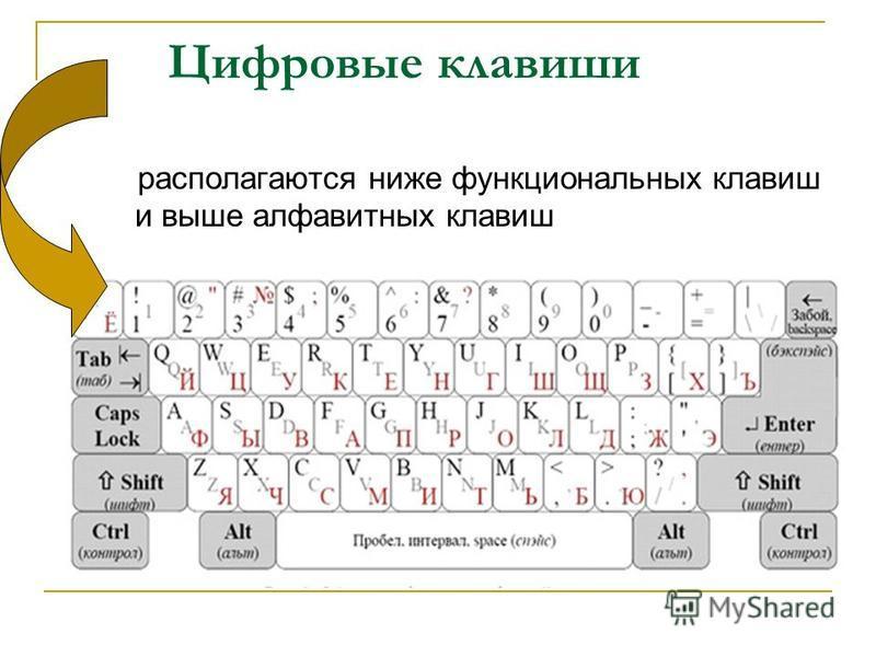 Цифровые клавиши располагаются ниже функциональных клавиш и выше алфавитных клавиш