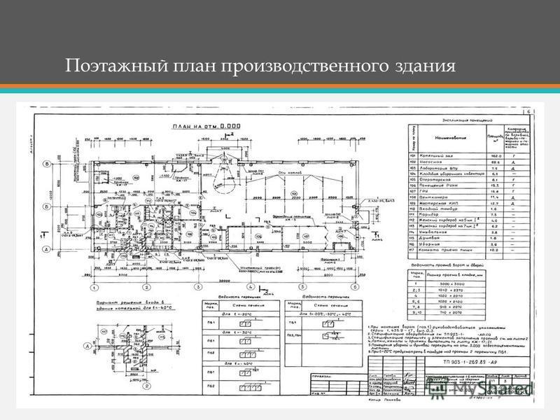 Поэтажный план производственного здания