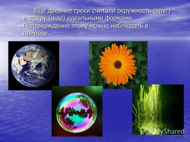 Еще древние греки считали окружность (круг) и сферу (шар) идеальными формами. Подтверждение этому можно наблюдать в природе. Еще древние греки считали окружность (круг) и сферу (шар) идеальными формами. Подтверждение этому можно наблюдать в природе.