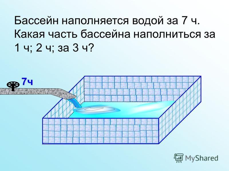 Бассейн наполняется водой за 7 ч. Какая часть бассейна наполниться за 1 ч; 2 ч; за 3 ч? 7 ч