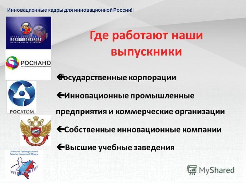 Инновационные кадры для инновационной России!! Где работают наши выпускники Государственные корпорации Инновационные промышленные предприятия и коммерческие организации Собственные инновационные компании Высшие учебные заведения