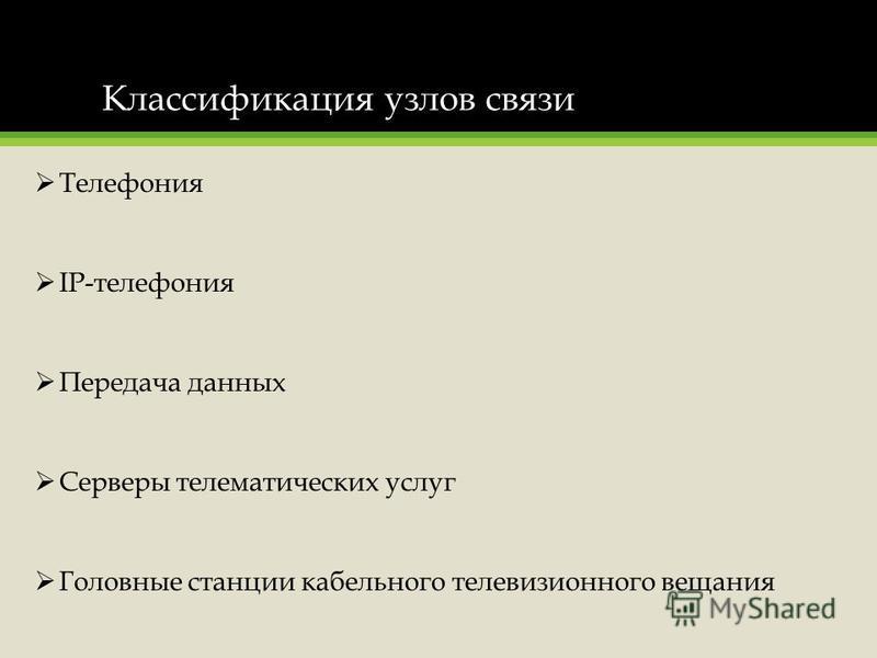 Классификация узлов связи Телефония IP-телефония Передача данных Серверы телематических услуг Головные станции кабельного телевизионного вещания