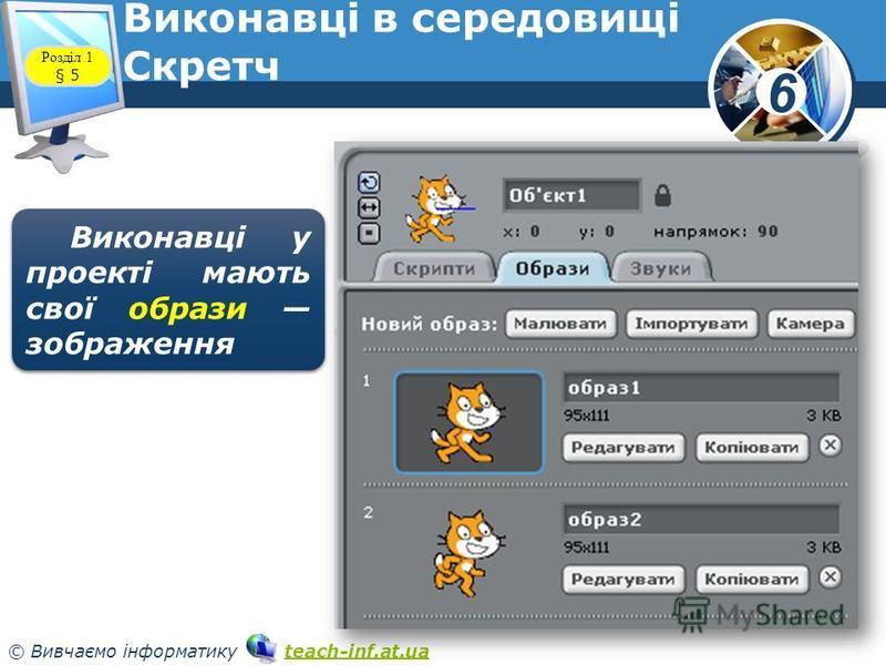 6 © Вивчаємо інформатику teach-inf.at.uateach-inf.at.ua Виконавці в середовищі Скретч www.teach-inf.at.ua Розділ 1 § 5 Виконавці у проекті мають свої образи зображення