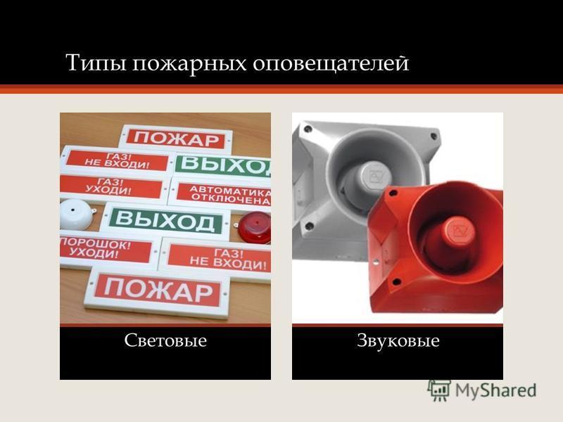 Типы пожарных оповещателей Световые Звуковые