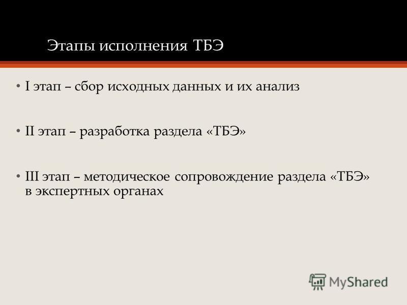 Этапы исполнения ТБЭ I этап – сбор исходных данных и их анализ II этап – разработка раздела «ТБЭ» III этап – методическое сопровождение раздела «ТБЭ» в экспертных органах